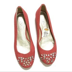 Talbots Coral Bejeweled Flats 5 1/2 M